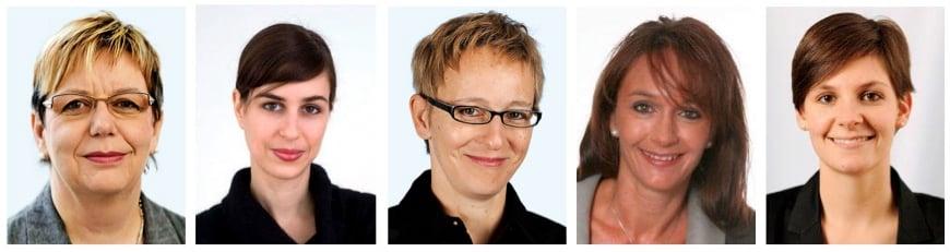 Geben in der Politik den Ton an (v. l.): Katharina Hubacher, Luzia Vetterli, Laura Grütter, Lisa Zanolla und Noëlle Bucher.