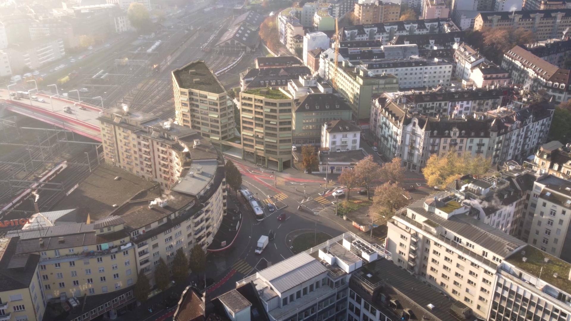 Blick aus der Luft auf die zwei neuen Hochhäuser «Luegisland» eingangs Langensandbrücke.