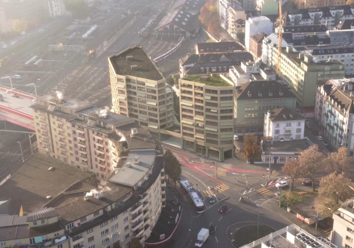 Noch nicht gebaut und schon integriert: Die zwei stattlichen Bauten (obere Bildhälfte) am Bundesplatz Luzern werden 32 und 35 Meter hoch.