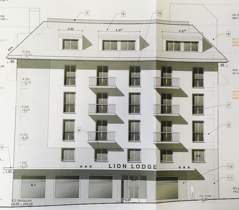 Im Baugesuch liegt eine Skizze der Fassade des geplanten Neubaus bei.