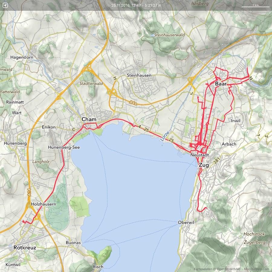 Die Strecke, die Eri und ich zurückgelegt haben während der 5 Stunden und 20 Minuten. 65,8 Kilometer waren es.