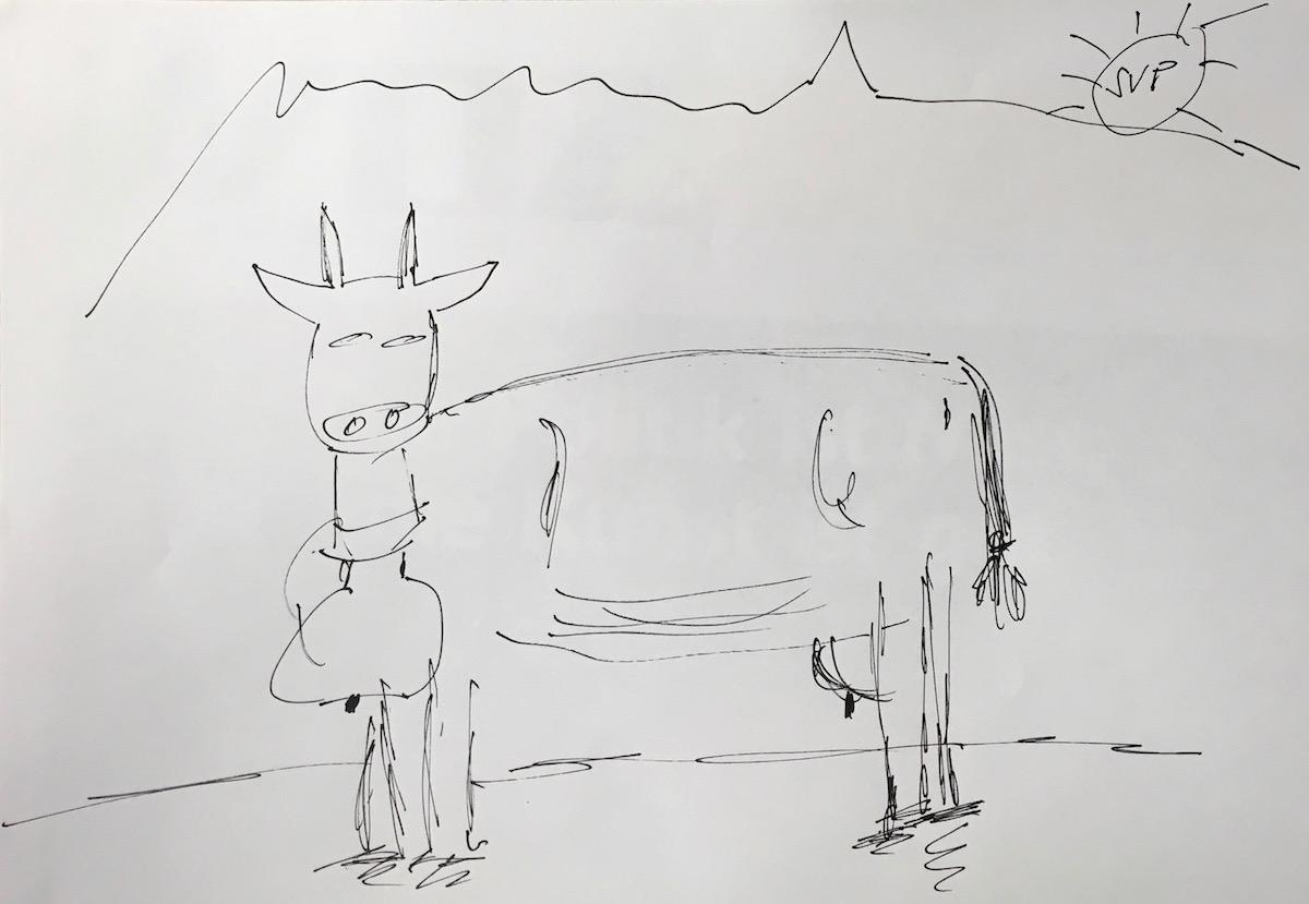 Die Kampfkuh von Franz Grüter heisst Micabol. Ob die Sonnenstrahlen die Kuh zum kämpfen bringen, bleibt Interpretationssache.