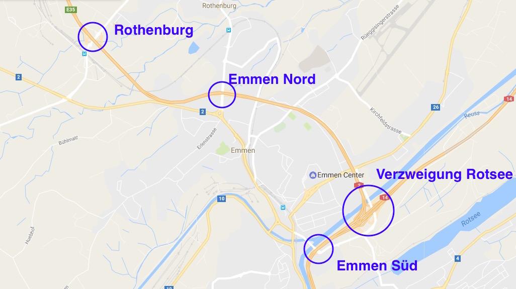 2011 wurden die Anschlüsse Richtung Norden beim Anschluss Emmen Nord geschlossen, weil der Anschluss Rothenburg eröffnet wurde.