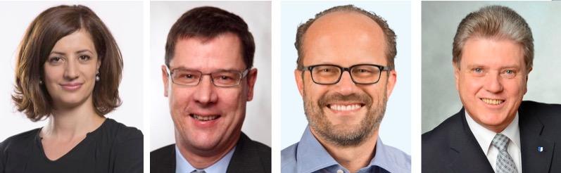 Die Fraktionschefs der vier grossen Parteien. Von links: Ylfete Fanaj (SP), Ludwig Peyer (CVP), Andreas Moser (FDP) und Guido Müller (SVP)