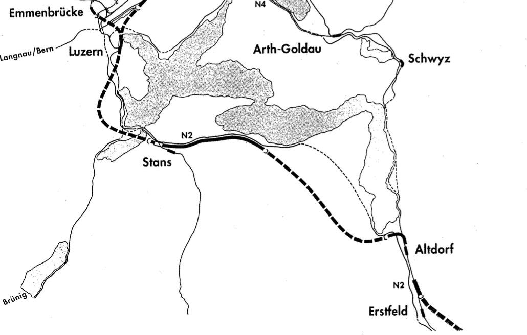 Die Stanser Variante der Neat-Zufahrt: Grafik aus einem Bericht der VCS-Sektionen Zürich und Luzern von 1994.