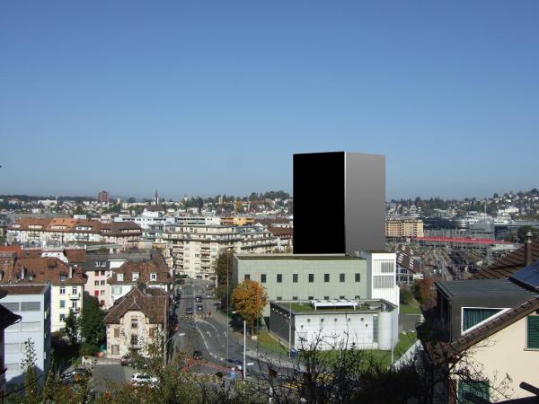 So sieht eine nicht exakte Visualisierung, erstellt von den Hochhausgegnern, des Hochhauses am Steghof aus. Damals ging man von 55 Metern Höhe aus. Das aktuelle Projekt soll mit 45 Metern Höhe zehn Meter kürzer ausfallen.