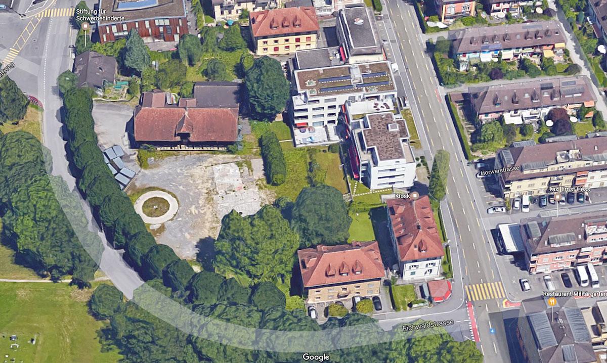 Hier soll günstiger Wohnraum enstehen: die Parzelle zwischen Eichwaldstrasse und Horwerstrasse (rechts) bei der Luzerner Allmend.