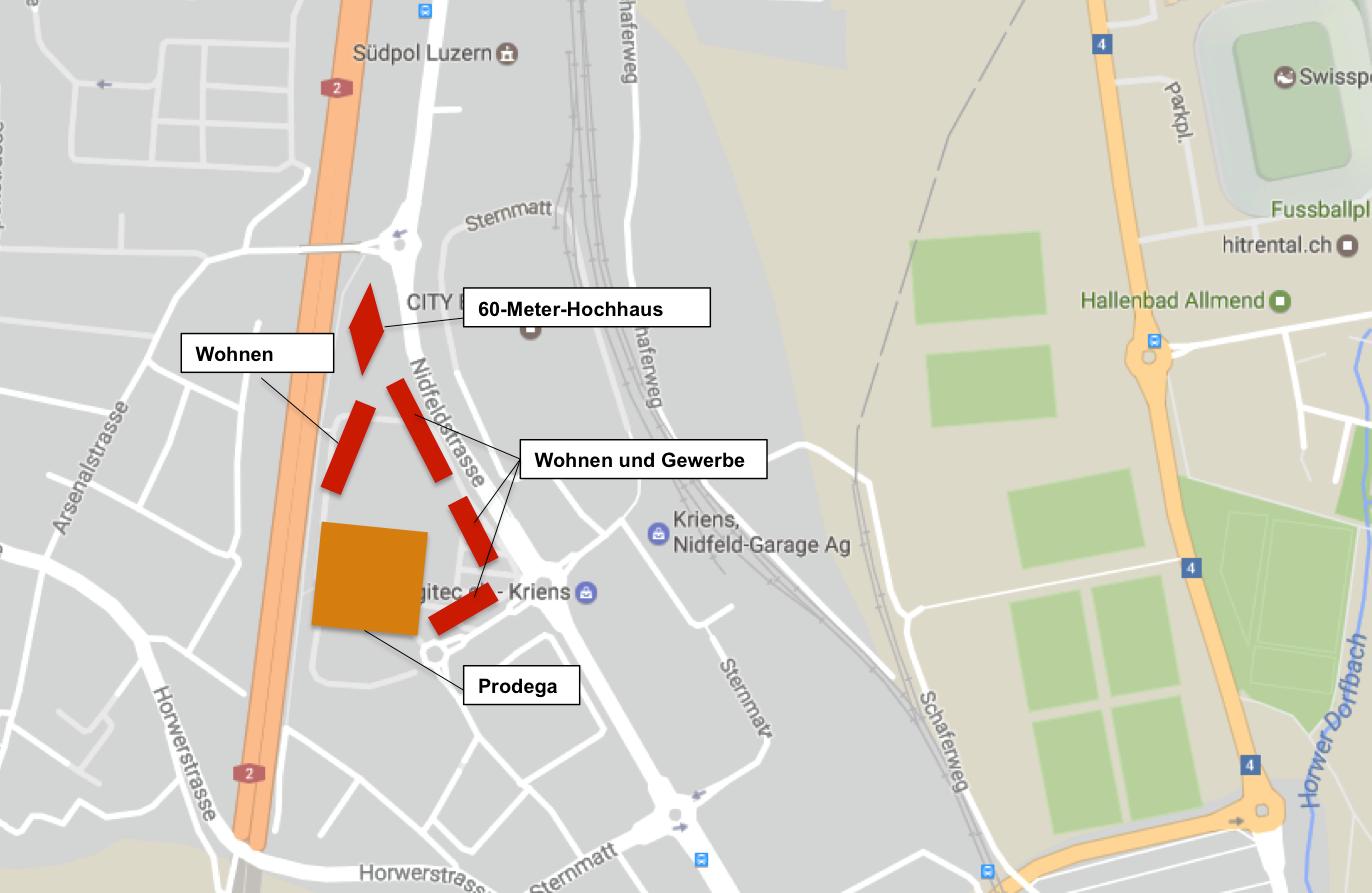 So könnten die Gebäude im Nidfeld platziert werden (Bild: pze).