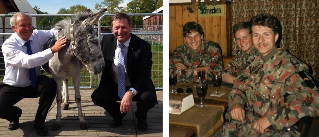 Regierungsrat Paul Winiker (von links), ein Esel, Marcel Schwerzmann und ganz rechts wieder Schwerzmann, diesmal auf einem älteren Bild aus Militärzeiten.