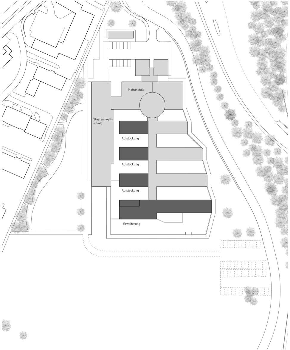Der Ausbau auf einen Blick: In Dunkelgrau die drei bestehenden Trakte, die um einen Stock erweitert wurden sowie der komplett neue Gefängnistrakt im Süden.