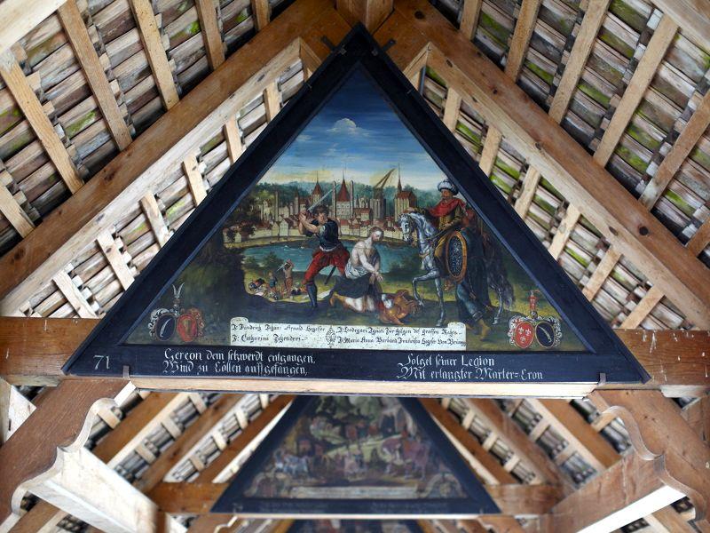 Ein historisches Gemälde auf der Luzerner Kapellbrücke.