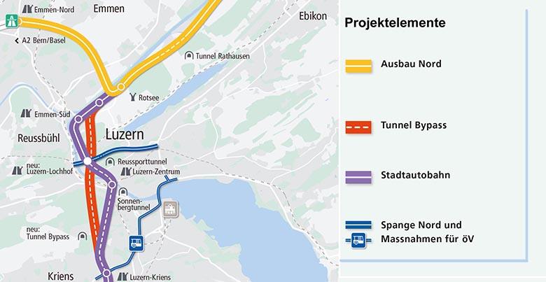 Das sind die Elemente des Projekts Bypass Luzern. (Quelle: Kanton Luzern)