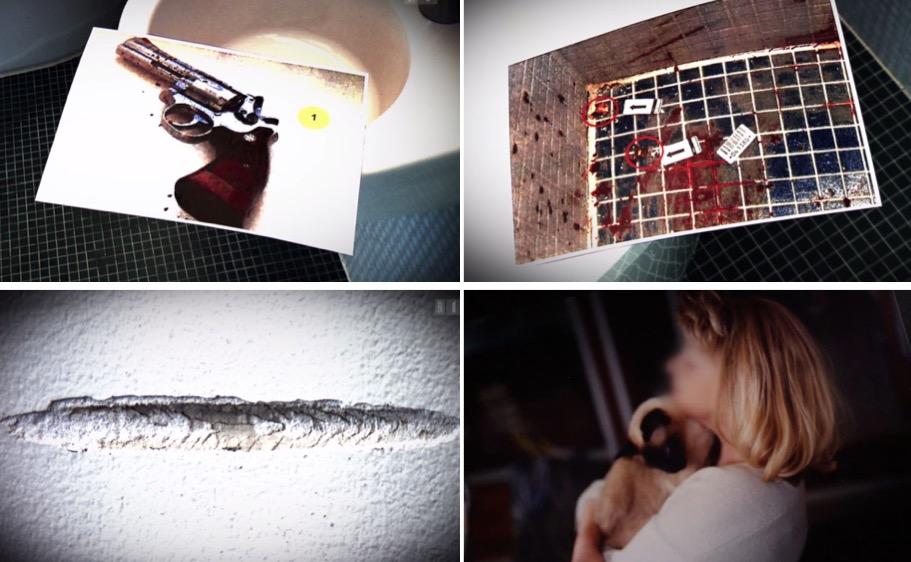 Szenen aus der «Rundschau»-Reportage: die Waffe, mit der sich die Frau erschoss; das Badezimmer, in dem sie sich das Leben nahm; Spuren eines Schusses an der Wand; die verstorbene Mutter.