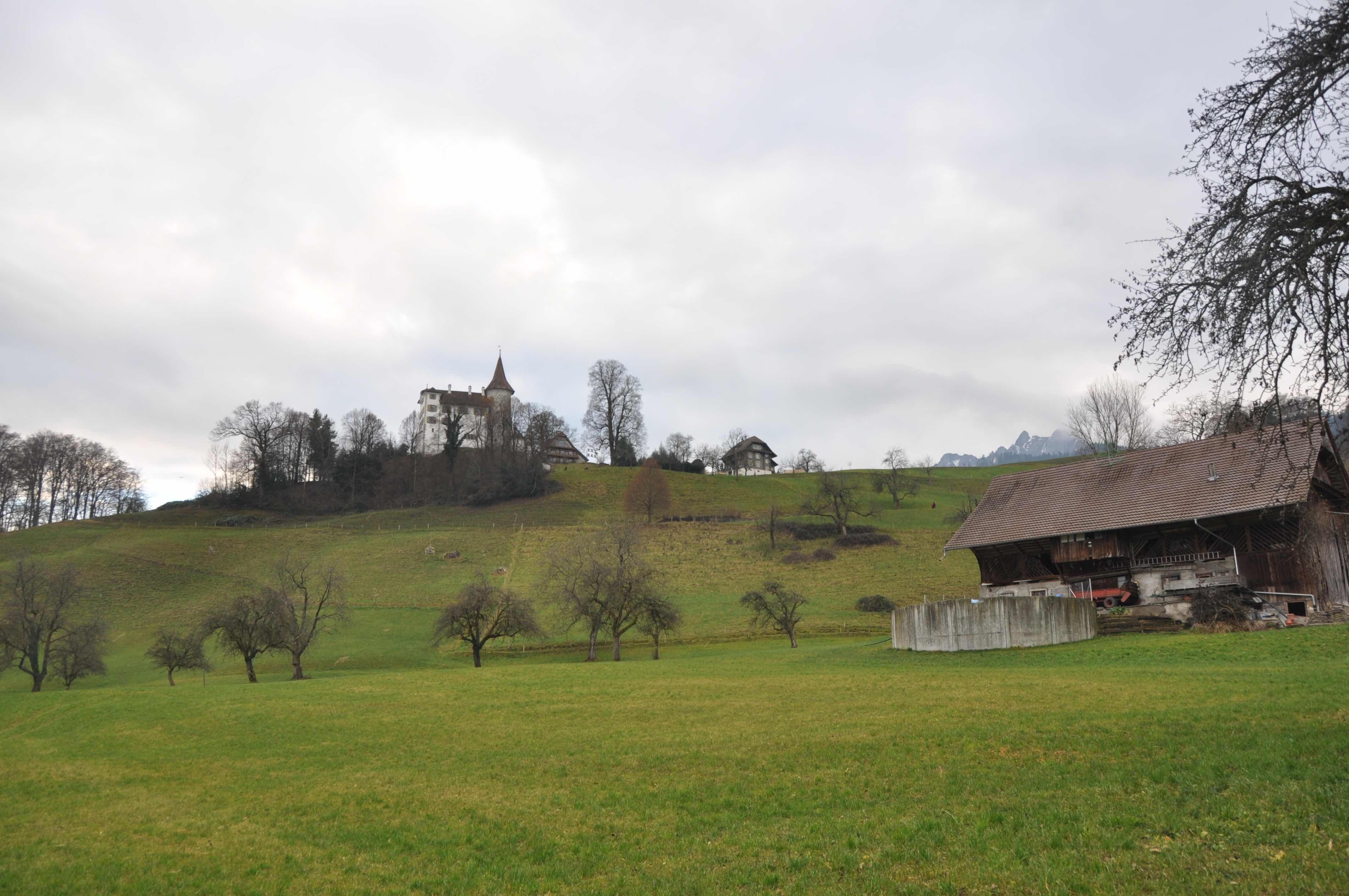 Blick auf das Schloss Schauensee in Kriens, das prominent über der Gemeinde thront.