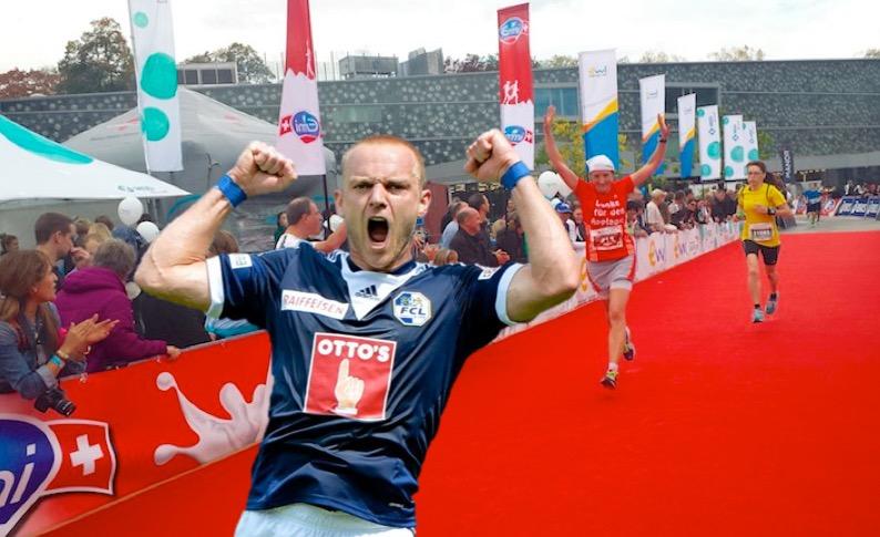 Marco Schneuwly freut sich über seinen Sieg am Lucerne Marathon.