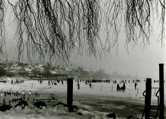 Viel Platz: Blick vom Alpenquai auf den Zugersee, 1963.