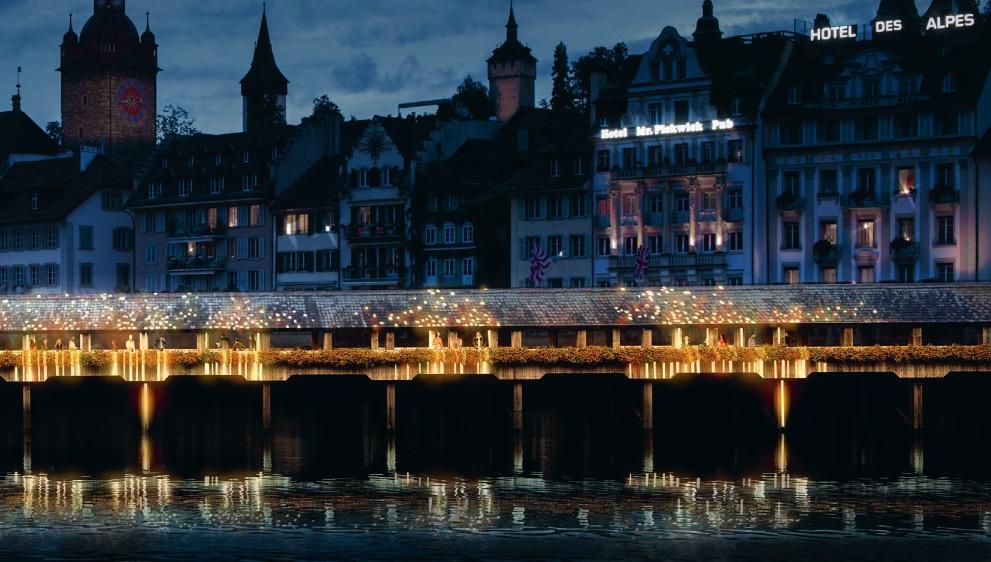 So hätte die Kapellbrücke gemäss Siegerprojekt Partikel Plan aussehen sollen.