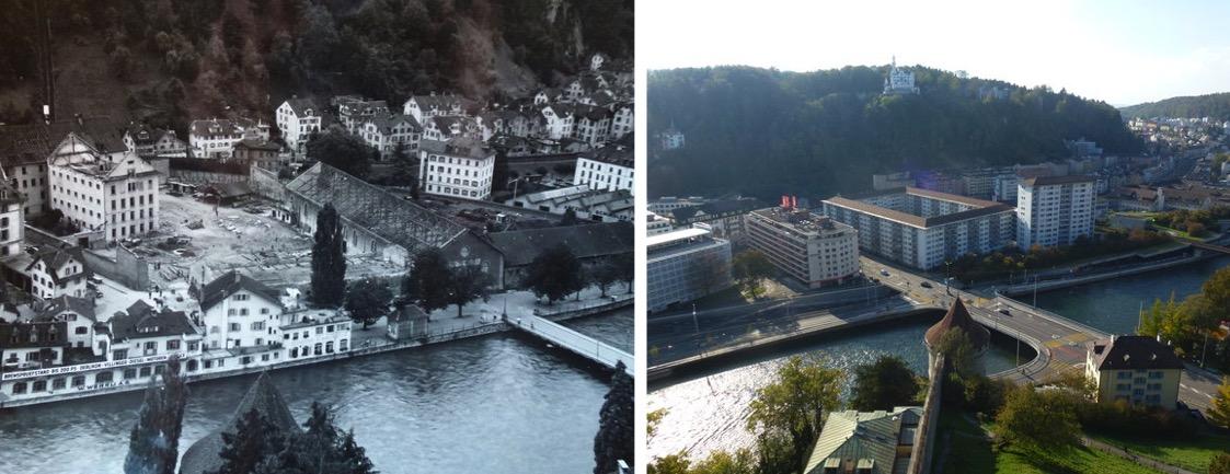 Der Sentihof um 1930 (links) und heute.