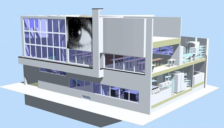 So soll die Fassade künftig aussehen. Das markante Auge wird das Gebäude weiterhin zieren.