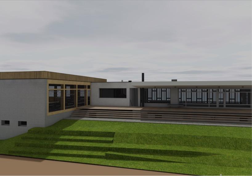 Das Zusammenspiel zwischen dem bestehenden Clubgebäude rechts und dem Restaurantanbau.