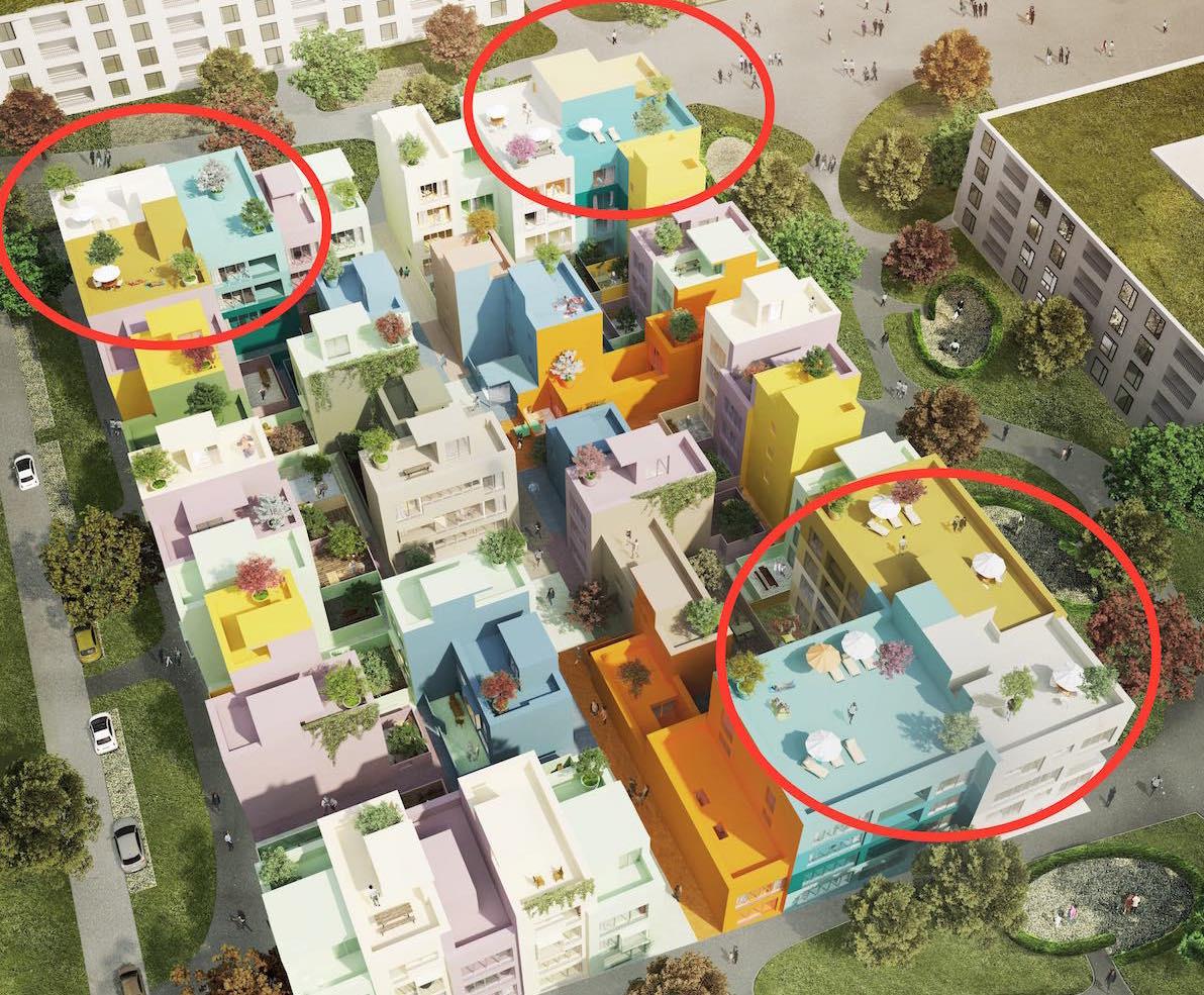 Die drei eingekreisten Mehrfamilienhäuser mit 29 Wohnungen wären barrierefrei geplant. Die 37 anderen Häuschen nicht.