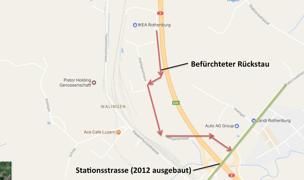 Auf diesem Plan sieht man die Wahligenstrasse, auf der Rückstau bis zur Stationsstrasse befürchtet wurde.