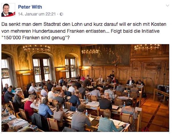 SVP-Präsident Peter With kritisiert auf Facebook die geplanten Mehrkosten für die neue Stelle.