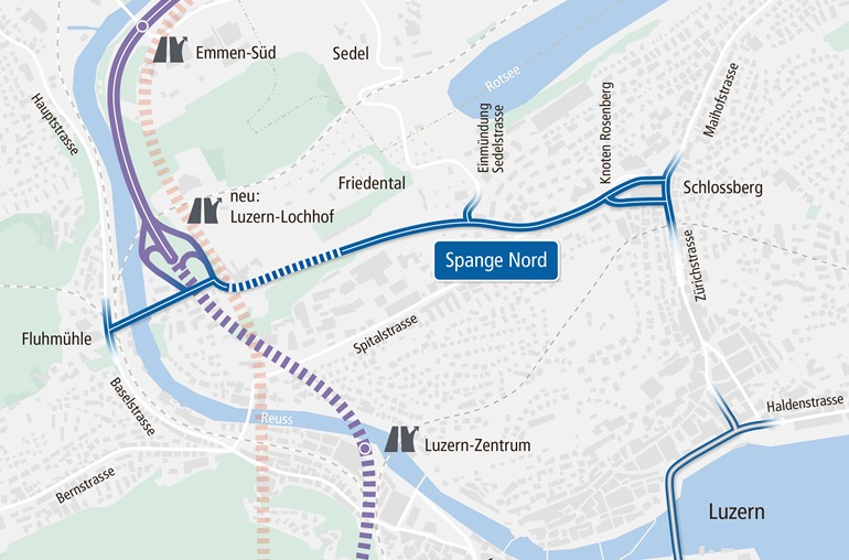 Der gestrichelte Abschnitt der Spange Nord zeigt den geplanten Tunnel unter dem Friedental an. CVP und GLP möchten, dass dieser bis zum Schlossberg verlängert wird.