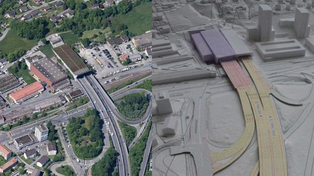 Links: So zeigt sich die Situation in Kriens mit der Einfahrt der Autobahn in den Sonnenbergtunnel aktuell. Rechts: So könnte sie mit dem Bypass aussehen.