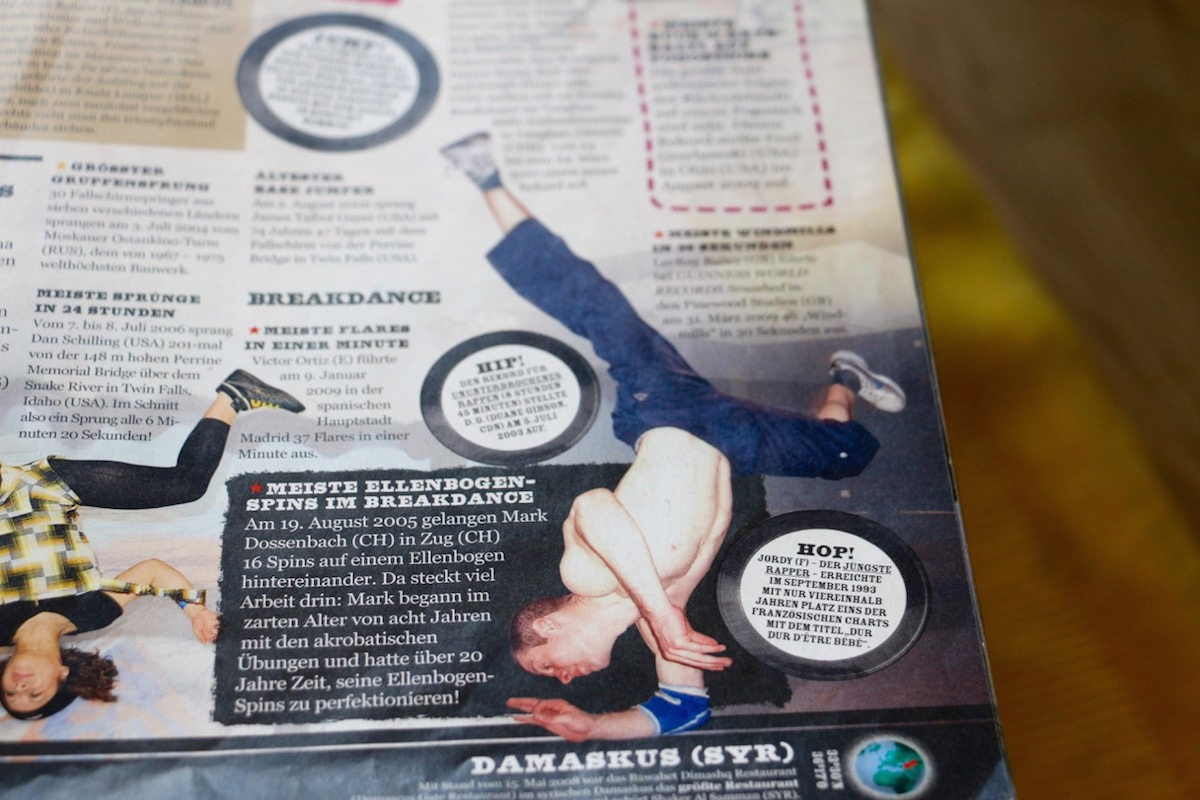 Mark Dossenbach schaffte es mit seinen 16 Ellbogen-Spins ins Guinness-Buch der Rekorde.