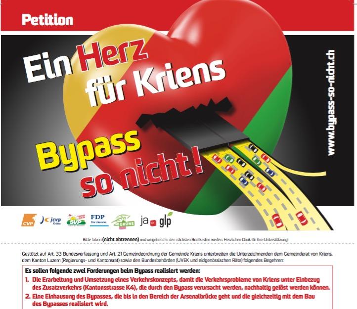 So sieht die Petition des Krienser Komitees «Bypass – so nicht» aus.