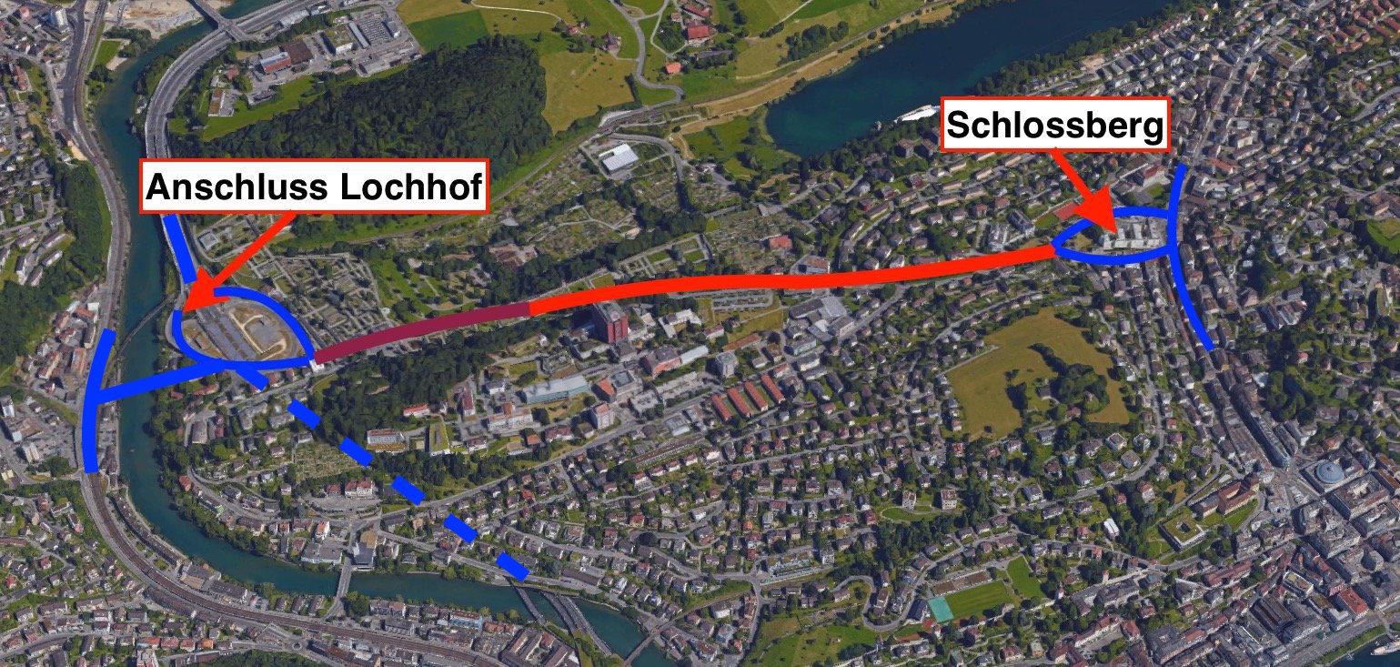 Rot eingezeichnet: Auf dieser Strecke soll die Spange Nord eingetunnelt werden, fordern CVP und GLP. Dunkelrot markiert sind die 350 Meter, die der Kanton eintunneln will.