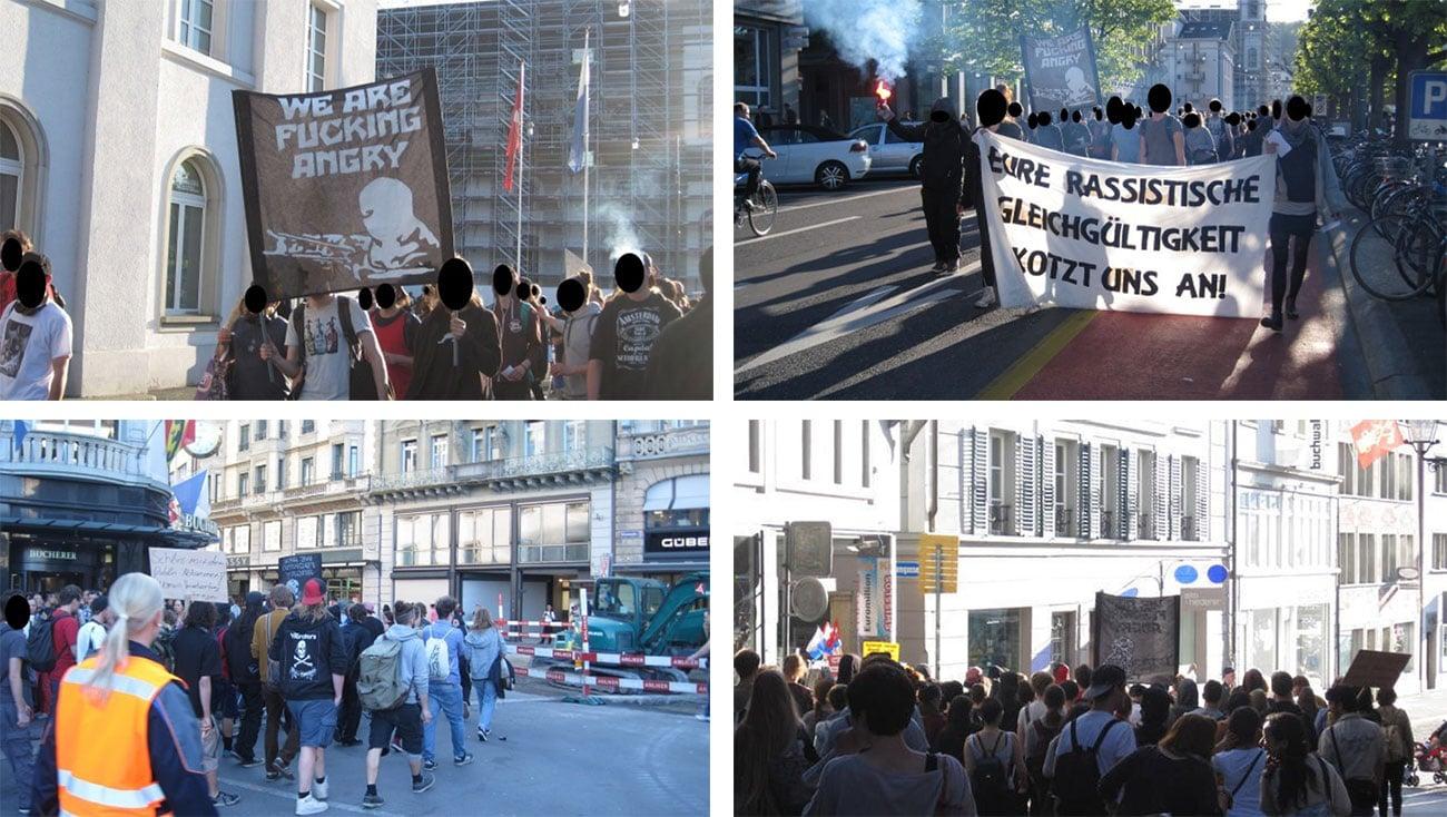 Aufnahmen der Demonstration vom 22. April 2015 in Luzern – die Kundgebung führte zu mehreren Anklagen.