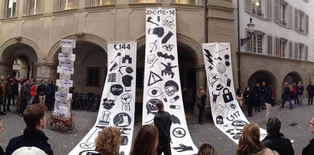 Im letzten November: Protest für die Fachklasse Grafik in der Luzerner Bahnhofstrasse.