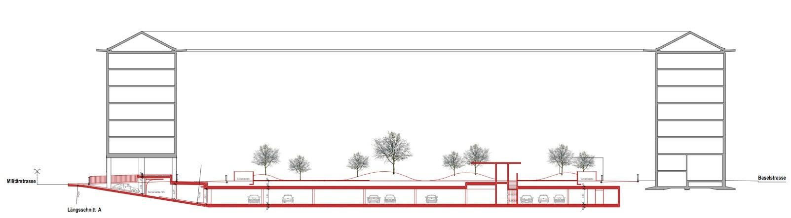 Querschnitt durch die geplante Tiefgarage unter dem Sentihof.