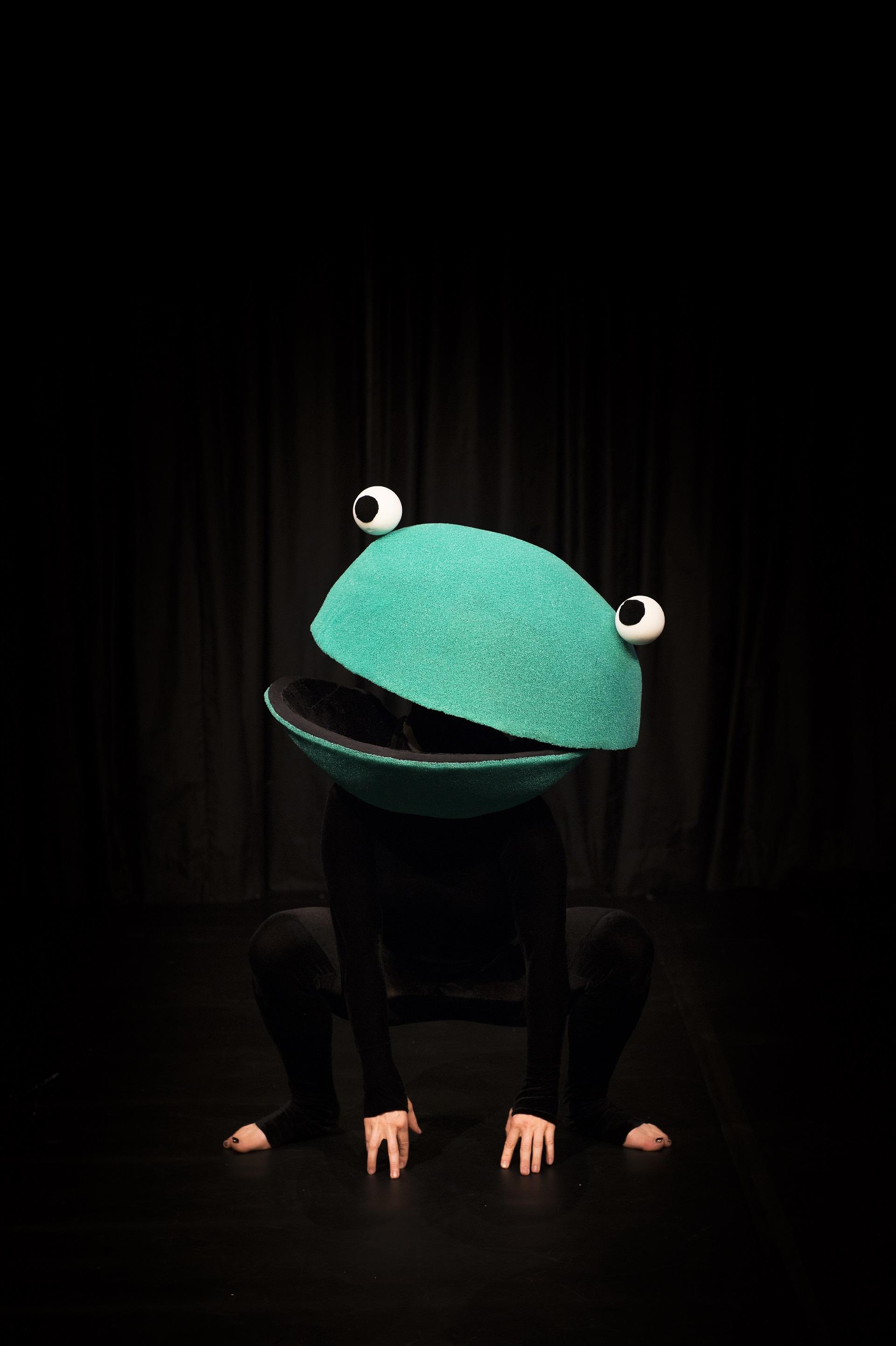 Ein Frosch betritt die Bühne.