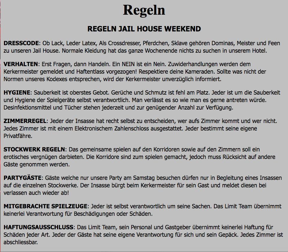 Die Regeln, die am «Jailhouse Weekend» gelten.