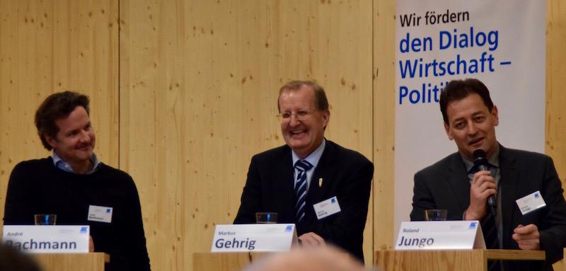 André Bachmann, Geschäftsleitungsmitglied des Lichtteams und Mitglied der City Vereinigung, CVP-Kantonsrat und Vorstand des Detaillistenverbandes Markus Gehrig und der Direktor des Emmen Center, Roland Jungo.