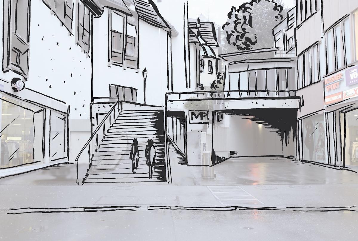 Wer im Musegghügel parkiert, würde das Parkhaus am Museggrain, zwischen den Kleiderläden C&A (links) und Vögele (rechts) in der Altstadt verlassen. (Visualisierung: zvg)