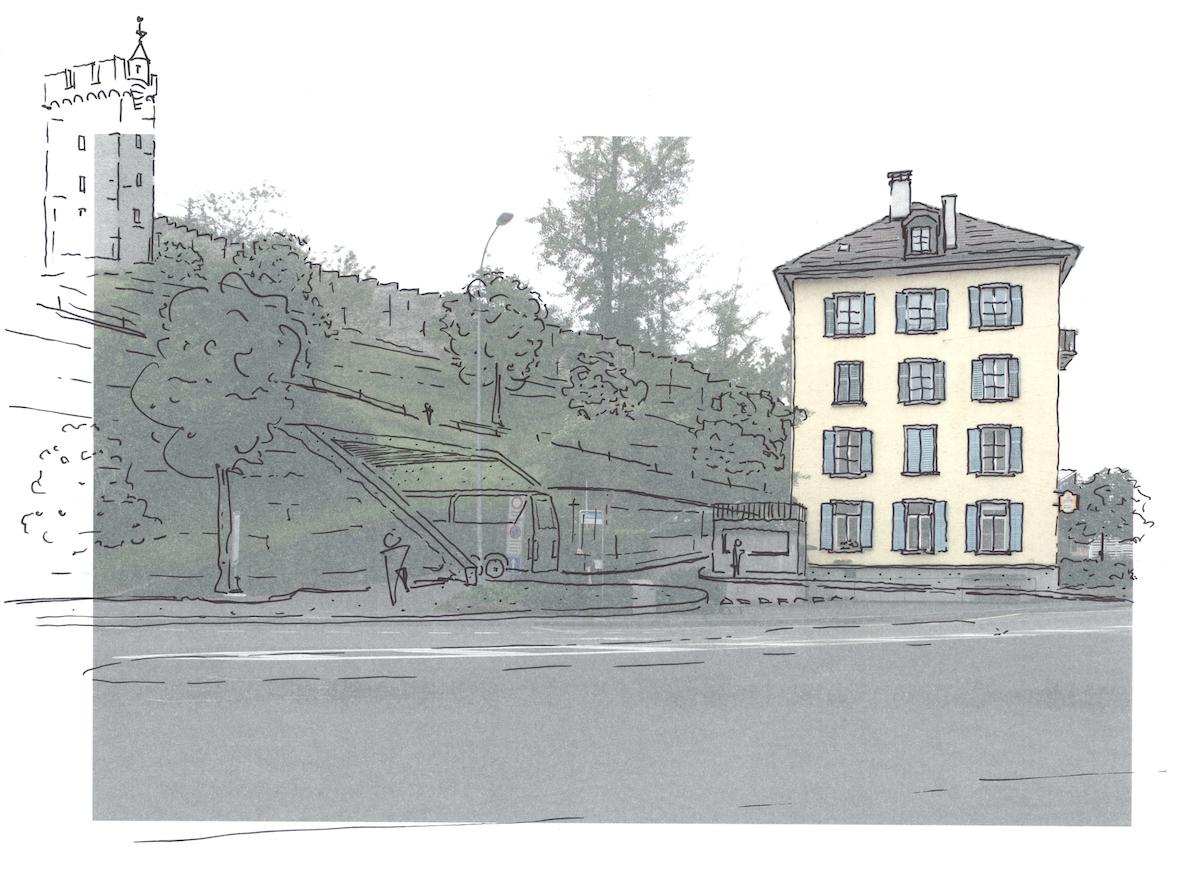 Die Zufahrt zum Parkhaus wäre beim Restaurant Reussbad, eingangs Geissmattquartier, geplant. (Visualisierung: zvg)