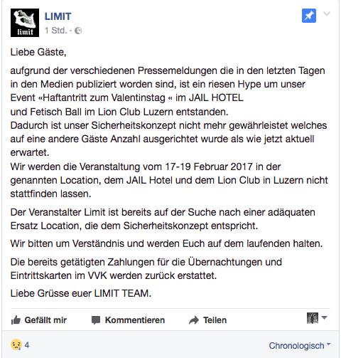 So vermeldet «limit» die Absage des Events auf Facebook.