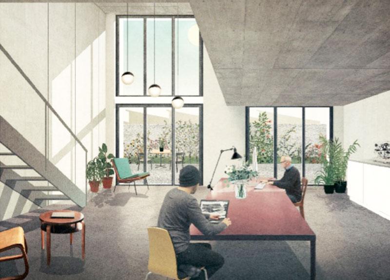 Visualisierung einer geplanten Atelier-Wohnung auf dem Teiggi-Areal.