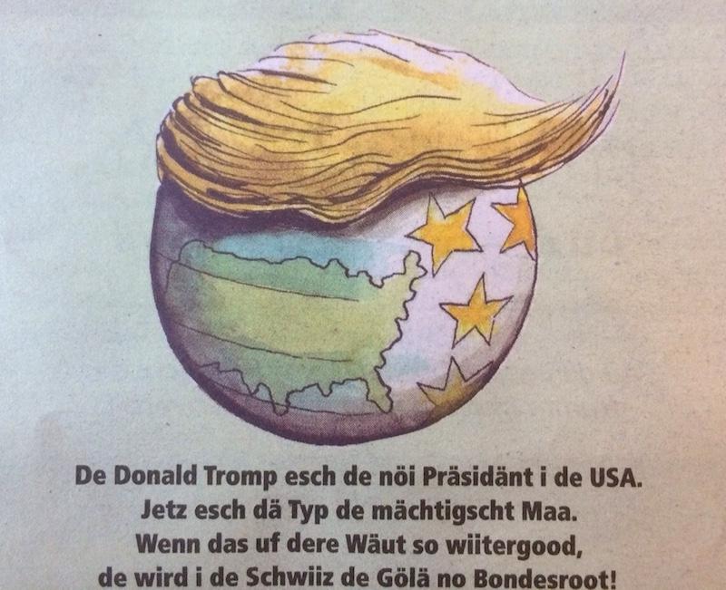 Trump und Gölä auf einer Stufe – passt. (Bild: Knallfrosch)