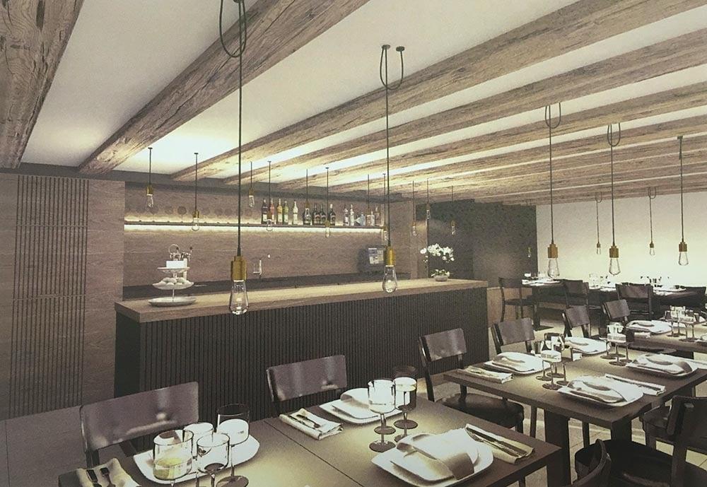 So stellen sich die Architekten das spätere Restaurant im Erdgeschoss vor.