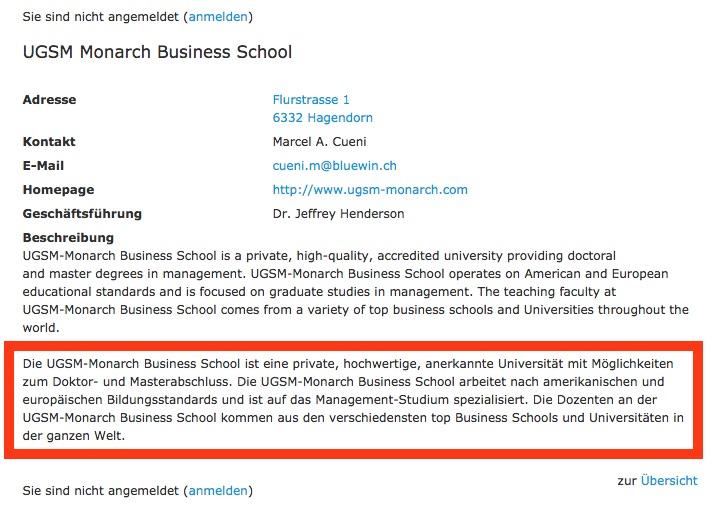 Der Eintrag der Monarch Business School auf der Webseite der Stadt.