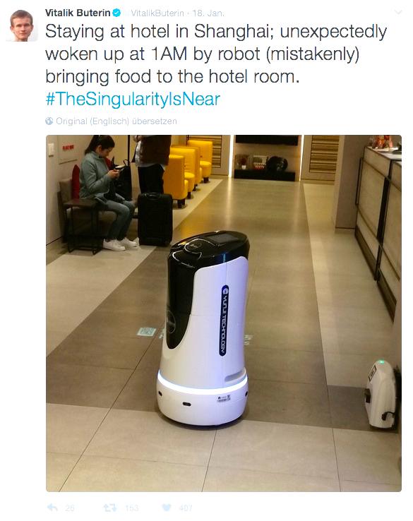 Spuren eines digitalen Nomaden: Buterin meldet sich aus Shanghai, wo ihm ein Roboter Essen bringt.