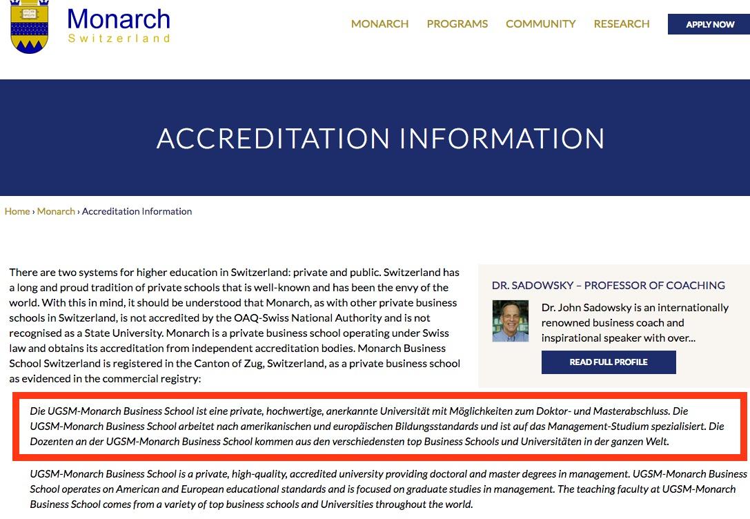 Die Monarch Business School zitiert auf ihrer Webseite den Eintrag bei der Stadt Zug. Den sie selber verfasst hat.