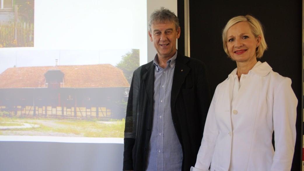 Stadträtin Manuela Jost und Markus Mächler, Präsident SBL Wohnbaugenossenschaft, stellten das Bauprojekt vor.