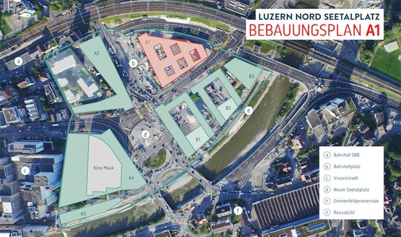 Auf dem roten Baufeld möchte der Kanton Luzern seine Verwaltung zentralisieren. Auf den grünen Baufeldern B1 bis B3 sollen auch Wohnungen entstehen.