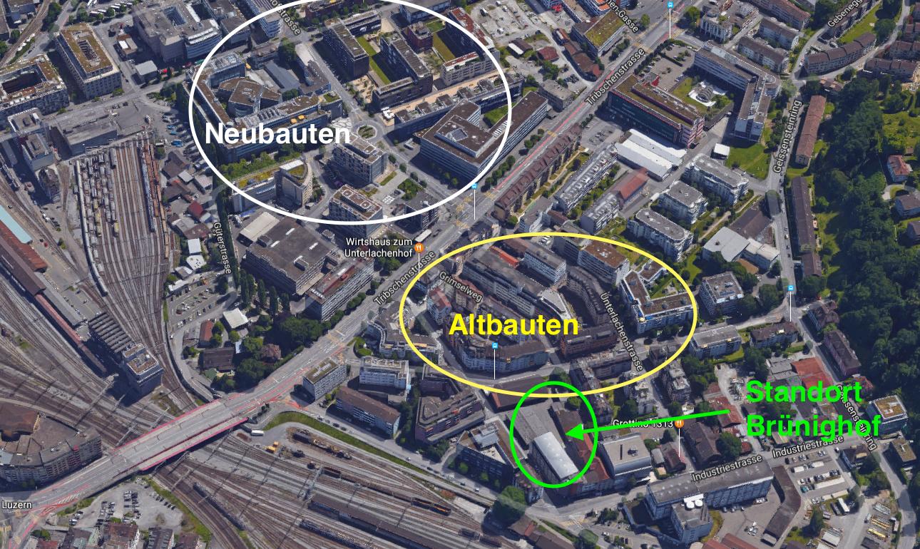 Die Tribschenstrasse trennt die Alt- und Neubauten (noch) in der Gegend.